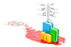 Malta travel concept. Map with suitcases and signpost, 3D render. Malta travel concept. Map with suitcases and signpost, 3D Stock Image