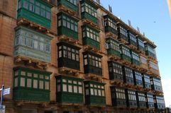 Malta Typical balconies of Maltas architecture. In the historic period in the capital city Valetta Stock Photography