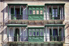 Malta - Valletta. Typical Maltese covered balconies in Valletta Royalty Free Stock Photography