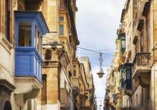 Malta - Valletta. Typical Maltese covered balconies in Valletta Stock Photo