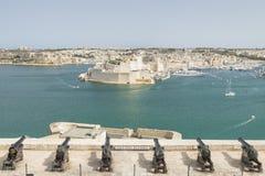 Malta, Valletta, Saluting Battery Cannons. Malta, Valletta, cannons of the Saluting Battery seen from Upper Barrakka Gardens Royalty Free Stock Image