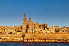 Malta Valletta fullmånehimmel Fotografering för Bildbyråer