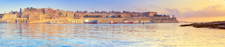 Malta, Valletta with its traditional architecture on asunrise, p. Malta, view on Valletta with its traditional architecture taken from the tip of Vittoriosa Royalty Free Stock Photos
