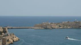 Malta, Valletta - July 1st, 2016:View from Upper Baraka Gardens on Breakwater. Valletta Malta, Breakwater, view from upper baraka gardens stock footage