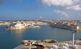 Malta, Valletta - Landscape of Old Port, Three Cities and Valletta Bay royalty free stock images