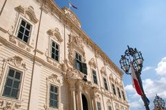 Malta, Valletta, Luxury palace Auberge de Castille. Luxury palace Auberge de Castille in Valletta, Malta, the house of knights. It was built in the 1570s in royalty free stock photos