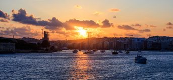 Malta Valletta. Modern area Sliema at sunset royalty free stock photo