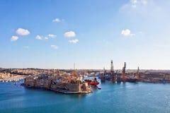 Malta - Valletta. Valletta's harbour view on a sunny day Stock Photo