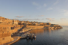 Malta Valletta 2. For Malta sailed quiet sunny morning. City looked golden Royalty Free Stock Images