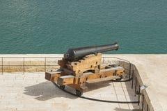 Malta, Valletta, Saluting Battery Cannons. Malta, Valletta, cannons of the Saluting Battery seen from Upper Barrakka Gardens Royalty Free Stock Images