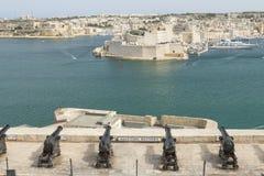 Malta, Valletta, Saluting Battery Cannons. Malta, Valletta, cannons of the Saluting Battery seen from Upper Barrakka Gardens Stock Image