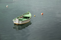 small green white fisher boat Royalty Free Stock Photography