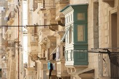 Malta, Valletta, Traditional Balconies. Malta, Valletta, Traditional wooden Balconies of town-houses Royalty Free Stock Photography