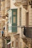 Malta, Valletta, Traditional Balconies. Malta, Valletta, Traditional wooden Balconies of town-houses Stock Photo