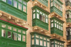 Malta, Valletta, Traditional Balconies. Malta, Valletta, Traditional wooden Balconies of town-houses Royalty Free Stock Images