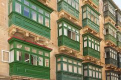 Malta, Valletta, Traditional Balconies. Malta, Valletta, Traditional wooden Balconies of town-houses Royalty Free Stock Photos