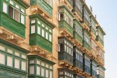 Malta, Valletta, Traditional Balconies. Malta, Valletta, Traditional wooden Balconies of town-houses Royalty Free Stock Photos