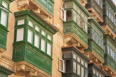 Malta, Valletta, Traditional Balconies. Malta, Valletta, Traditional wooden Balconies of town-houses Royalty Free Stock Photo