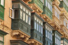 Malta, Valletta, Traditional Balconies. Malta, Valletta, Traditional wooden Balconies of town-houses Stock Image