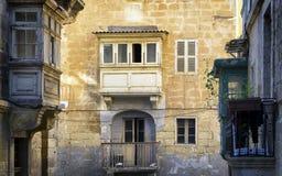 Malta - Valletta. Typical Maltese covered balconies in Valletta Royalty Free Stock Photo