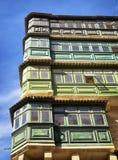 Malta - Valletta. Typical Maltese covered balconies in Valletta Stock Image