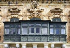Malta - Valletta. Typical Maltese covered balconies in Valletta Stock Photos