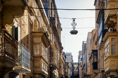 Malta - Valletta. Typical Maltese covered balconies in Valletta Royalty Free Stock Image