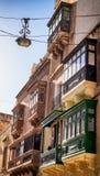 Malta - Valletta. Typical Maltese covered balconies in Valletta Stock Images
