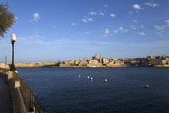 Fortress of Valletta on Malta. View over the Bay from Sliema to the old town of Valletta on Malta Stock Photography