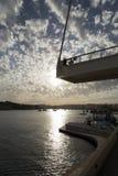 Malta Valletta. View over the bay at sliema underneath a sightseeing bridge on Malta Stock Images