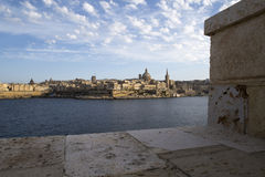 Fortress of Valletta on Malta. View over a wall over the bay on the old city of Valletta, Malta Stock Photo