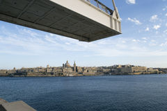 The old town of Valletta on Malta. View underneath the sightseeing bridge on the old town of Valletta, Malta Royalty Free Stock Photo