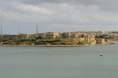 Malta: The view over the harbour of Valetta to Cospicua. Malta: The view over the harbour of the capital City Valetta to Cospicua Royalty Free Stock Photos