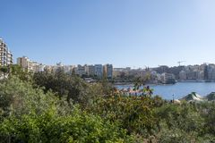 Maltese islands St Julians bay view. Malta view of St Julians bay and Spinola bay Royalty Free Stock Image