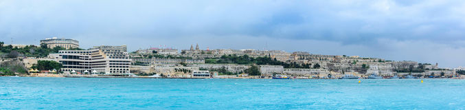 Malta - view to valletta west end. View from sliema to valletta - hotel shipy - it was a stormy day Royalty Free Stock Image