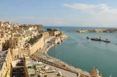 Malta: The view from upper Baracca Garden in Valetta City. To the harbour Stock Image