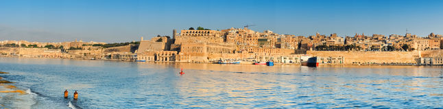Malta, view on Valletta with its traditional architecture. From Vittoriosa peninsula Royalty Free Stock Images