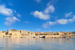 Malta, view on Valletta with its traditional architecture. From Vittoriosa peninsula Royalty Free Stock Photography