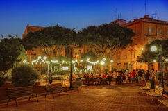 Malta - Views of Floriana. Night view an open-air restaurant in the little-known suburb of the Maltese capital -Floriana, Malta Royalty Free Stock Image