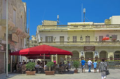 Malta - Gozo, Victoria. One of the most popular bars in the Gozitian capital with views of the basilica, Victoria, Rabat, Gozo, Malta Royalty Free Stock Image