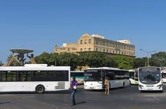 Malta, Views of Valletta. Busy City Gate bus terminus - Valletta, Malta Stock Photos