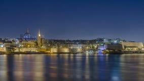 Malta - Panorama of Valletta. Impressive night view of the Maltese capital across Marsamxett Harbour from Sliema - Valletta, Malta Stock Photography