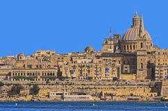 Malta - Panorama of Valletta. Impressive view of the Maltese capital across Marsamxett Harbour from Sliema - Valletta, Malta Royalty Free Stock Image