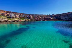 Malta. Village Popeye. View of the famous village Popeye and bay on a sunny day. Malta Royalty Free Stock Image