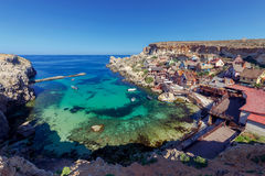 Malta. Village Popeye. View of the famous village Popeye and bay on a sunny day. Malta Stock Images