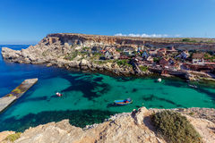 Malta. Village Popeye. View of the famous village Popeye and bay on a sunny day. Malta Royalty Free Stock Images