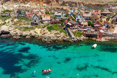 Malta. Village Popeye. View of the famous village Popeye and bay on a sunny day. Malta Royalty Free Stock Photos