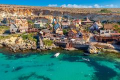 Malta. Village Popeye. View of the famous village Popeye and bay on a sunny day. Malta Royalty Free Stock Photo