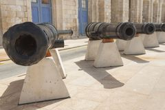 Malta, Vittoriosa, Historic Cannons. At Maritime Museum Royalty Free Stock Photography
