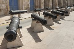 Malta, Vittoriosa, Historic Cannons. At Maritime Museum Stock Image